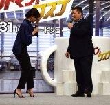 内田有紀(左)から「コスゲさん」と名前を名前を間違えられて嘆く小杉竜一=映画「アントマン&ワスプ」就任式イベント (C)ORICON NewS inc.