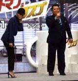 内田有紀(左)に歌をプレゼントした小杉竜一=映画「アントマン&ワスプ」就任式イベント (C)ORICON NewS inc.
