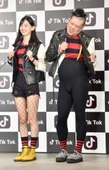 ショートムービーアプリ『Tik Tok』新CM発表会に出席した(左から)黒木麗奈、くっきー (C)ORICON NewS inc.