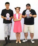 アニメ『HUGっと!プリキュア』に声優として出演した(左から)小島よしお、キンタロー。、髭男爵の山田ルイ53世 (C)ORICON NewS inc.
