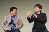 7月14日に大阪市内で行われたNetflixオリジナルドラマ『Jimmy〜アホみたいなホンマの話〜』全9話イッキ観試写会で木村拓哉が出演していることを明かした中尾明慶(右)とジミー大西(C)2018YDクリエイション