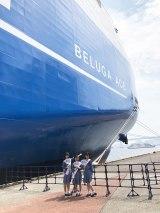 巨大な次世代自動車運搬船「BELUGA ACE(ベルーガ エース)」(C)STU