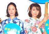 アニメーション映画『未来のミライ』初日舞台あいさつに出席した(左から)黒木華、上白石萌歌 (C)ORICON NewS inc.