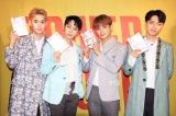 4人体制となって初のアルバムについてそれぞれの想いを口にしたMYNAMEメンバー(左からコヌ、チェジン、セヨン、ジュンQ)