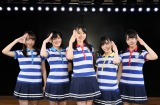 AKB48劇場で「出張公演」を行ったSTU48の(左から)薮下楓、岡田奈々、瀧野由美子、岩田陽菜、石田千穂(C)STU