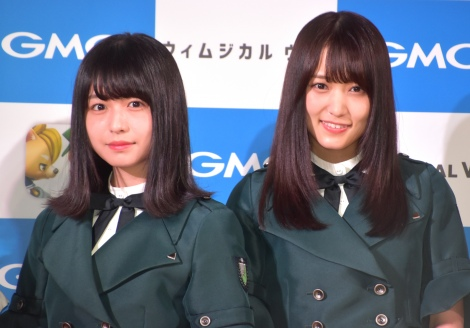 バトルゲーム『Whimsical War』のPR発表会に出席した欅坂46(左から)長濱ねる、菅井友香 (C)ORICON NewS inc.