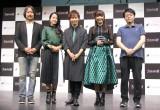 フジゲームス最新スマホRPG『Project7』記者発表会に出席した(左から)坂本英城氏、代永翼、伊藤静、明坂聡美、伊藤隆博プロデューサー (C)ORICON NewS inc.