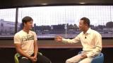 5日放送の日本テレビ系『シューイチ』で中山秀征と対談する斎藤佑樹 (C)日本テレビ