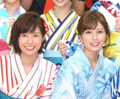 (左から)山崎夕貴アナ、堤礼実アナ (C)ORICON NewS inc.