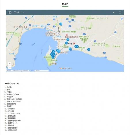 函館市内のメンバーゆかりの地マップ