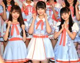 デビュー1周年を迎えた=LOVEの(左から)大谷映美里、高松瞳、齊藤なぎさ (C)ORICON NewS inc.