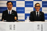 会見に出席したJASRAC複製部部長の江見浩一氏、常務理事 世古和博氏(左から)
