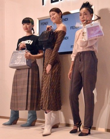 『フェンディピーカブー 〜世代を超えて受け継がれるアイコン〜』展のトークセッションに参加した(左から)ゆう姫、森星、安藤桃子 (C)ORICON NewS inc.