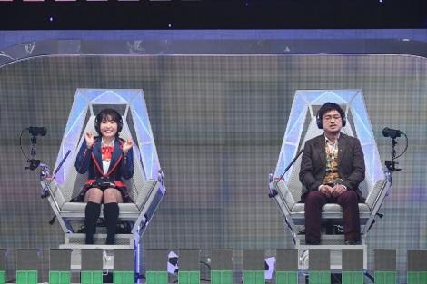 9月26日放送、テレビ朝日系『ザ・タイムショック』惣田紗莉渚(SKE48)VSやくみつる(C)テレビ朝日