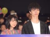 映画『3D彼女 リアルガール』公開記念舞台あいさつに出席した(左から)上白石萌歌、清水尋也 (C)ORICON NewS inc.