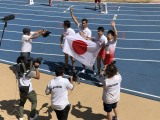 スペイン・マラガで開催された『世界マスターズ陸上2018』男子400メートルリレー(45歳クラス)で金メダルを獲得した日本チーム