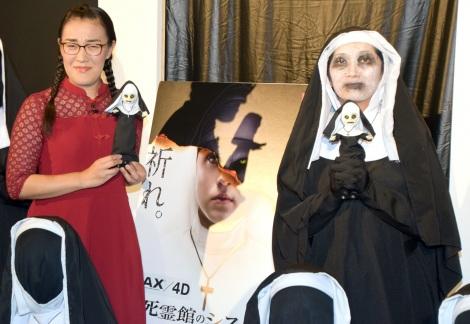 映画『死霊館のシスター』公開直前イベントに出席したたんぽぽ(左から)白鳥久美子、川村エミコ (C)ORICON NewS inc.