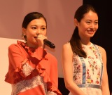 映画『SUNNY(サニー)強い気持ち・強い愛』(8月31日公開)の完成披露舞台あいさつに出席した野田美桜、田辺桃子