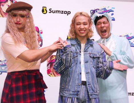 『東京ゲームショウ2018』の『リンクスリングス』PRイベントに登場した(左から)福島善成、りゅうちぇる、熊谷岳大 (C)ORICON NewS inc.