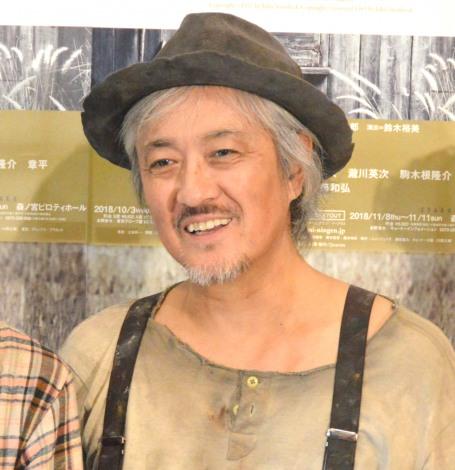舞台『二十日鼠と人間』公開ゲネプロ後囲み取材に出席した山路和弘 (C)ORICON NewS inc.