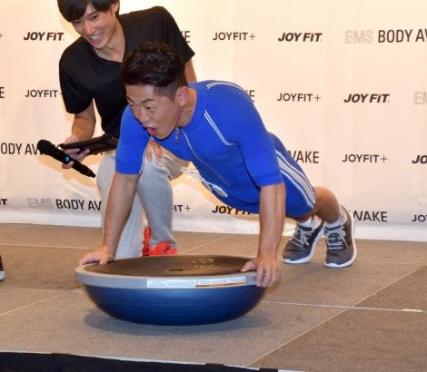 トレーニングを体験する太田博久=フィットネス『JOYFIT+麻布十番』プレス発表会 (C)ORICON NewS inc.