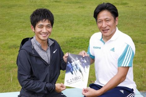 原晋氏(青山学院大学陸上競技部長距離ブロック監督)とともに舞台への意気込みを語る和田正人