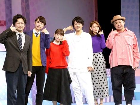 舞台『カレフォン』囲み取材に出席した(左から)山崎樹範