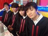東大王の(手前から奥へ)水上颯、鈴木光、伊沢拓司、鶴崎修功(C)TBS