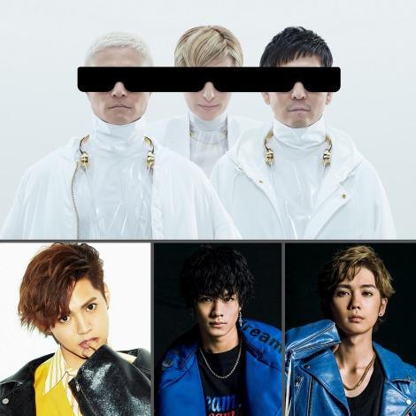 『PRINCE OF LEGEND』の主題歌を担当するm-flo(上)と各チーム曲に参加する(下段左から)片寄涼太、川村壱馬、吉野北人