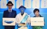 『大地球(BIGLOBE)寿司』のオープニングイベントに出席した(左から)マーク・パンサー、小峠英二、八幡カオル (C)ORICON NewS inc.