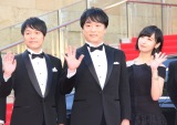 『第31回東京国際映画祭』オープニングイベントのレッドカーペットに登場した(左から)野島健児、関智一、佐倉綾音 (C)ORICON NewS inc.