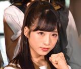 舞台『マジムリ学園』の初日前囲み取材に出席したAKB48・小栗有以 (C)ORICON NewS inc.