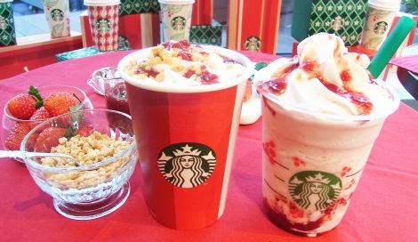 サムネイル (左から)11月1日より発売の『クリスマス ストロベリー ケーキ ミルク』『クリスマス ストロベリー ケーキ フラペチーノ』 (C)oricon ME inc.