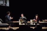 鹿児島市民文化ホールで行われた『明治維新150周年記念 西郷どんトークショー』に出演した(左から)田上晃吉、鈴木亮平、瑛太(C)NHK