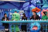 10日放送の『芸能人が本気で考えた!ドッキリGP』に出演する(左から)恵俊彰、ガチャピン、トリンドル玲奈、東野幸治、小池栄子 (C)フジテレビ