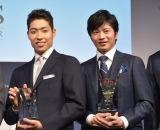 アワード『SUITS OF THE YEAR2018』に選出された(左から)萩野公介、田中圭 (C)ORICON NewS inc.