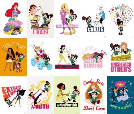 ディズニー・アニメーション映画『シュガー・ラッシュ:オンライン』(12月21日公開)ヴァネロペと私服姿のディズニー・プリンセスたちがポストカードに(C)2018 Disney. All Rights Reserved.