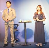 ノンニコチン・ノンタールのVAPEの新製品『myblu(マイブルー)』販売開始記者発表会に出席した(左から)矢部みほ、東幹久 (C)ORICON NewS inc.