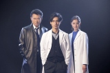 来年1月スタートの月9ドラマ『トレース〜科捜研の男〜』に出演する船越英一郎、錦戸亮、新木優子 (C)フジテレビ