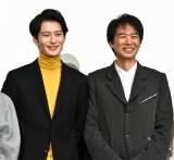 映画『家族のはなし』初日舞台あいさつに登壇した(左から)岡田将生、時任三郎 (C)ORICON NewS inc.