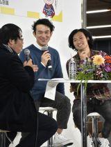 鹿児島市役所で開催された大河ドラマ『西郷どん』第45回「西郷立つ」パブリックビューイングに参加した田上晃吉(中央)と青木崇高(右)(C)NHK