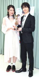 映画『笑顔の向こうに』モナコ国際映画祭最優秀授賞の囲み取材に出席した(左から)安田聖愛、高杉真宙 (C)ORICON NewS inc.