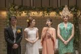 NHK福岡放送局が制作するドラマ『福岡美人がゆく!』がクランクアップ。(左から)清人、梅田彩佳、奈緒、白石隼也(C)NHK