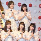 『第69回NHK紅白歌合戦』のリハーサルに参加したAKB48(前列左から)指原莉乃、柏木由紀、横山由依、(後列左から)岡田奈々、向井地美音 (C)ORICON NewS inc.