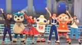 『第69回NHK紅白歌合戦』で行われる「夢のキッズショー」リハーサル=『おかあさんといっしょ』(前列左から)花田ゆういちろう、小野あつこ、小林よしひさ、上原りさ、『ガラピコぷ〜』の(後列左から)ムームー、ガラピコ、チョロミー (C)ORICON NewS inc.