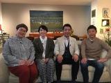 『新春ミヤネ屋』(左から)近藤春菜、箕輪はるか、宮根誠司、前澤友作社長 (C)読売テレビ