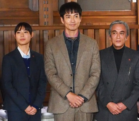 『刑事ゼロ』制作発表会見に登壇した(左から)瀧本美織、沢村一樹、寺島進