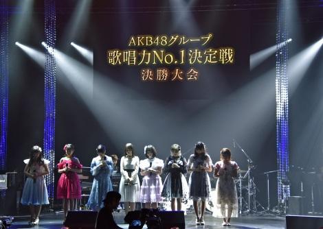 結果発表を待つファイナリスト7人=『AKB48グループ歌唱力No.1決定戦』決勝大会 (C)ORICON NewS inc.