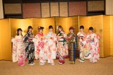 『AKB48グループ 2019年新成人メンバー 成人式記念撮影会』に参加したHKT48(左から)小田彩加、山下エミリー、朝長美桜、下野由貴、村重杏奈、外薗葉月、運上弘菜、堺萌香 (C)AKS