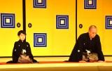 『市川海老蔵改め十三代目市川團十郎白猿襲名披露 八代目市川新之助初舞台 歌舞伎座記者会見』に出席した市川海老蔵(右)と長男の勸玄くん(左) (C)ORICON NewS inc.